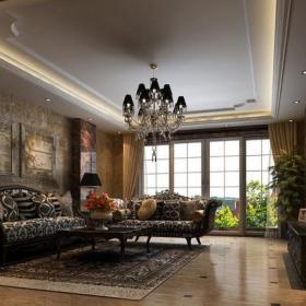欧式风格客厅菱形石材拼花装修效果图