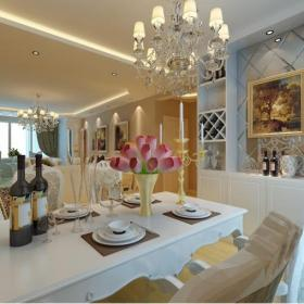 四居窗簾酒柜簡約歐式餐廳客廳吊頂效果圖