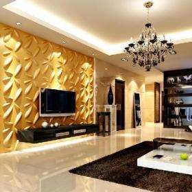 黄色吊顶背景墙现代三居客厅吊顶电视背景墙效果图欣赏