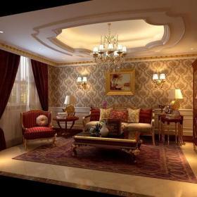 裝飾畫吊燈客廳儲物柜歐式客廳客廳窗簾茶幾客廳背景墻366㎡別墅歐式古典風格客廳沙發背景墻裝修效果圖歐