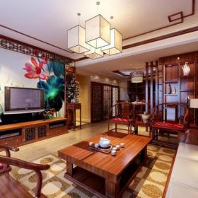 新中式风格客厅电视背景墙装修效果图新中式风格茶几图片