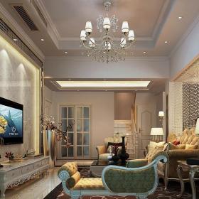 歐式復式樓客廳沙發背景墻裝修效果圖大全2013圖