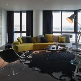 现代客厅博古架样板间装修设计效果图大全