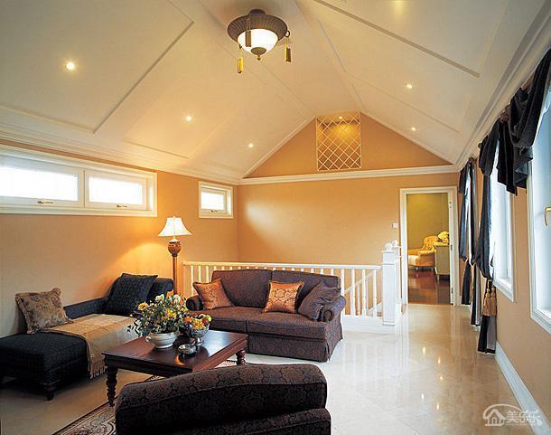 東南亞燈飾吊頂躍層沙發茶幾交錯美感為閣樓客廳全全包裝裝修效果圖