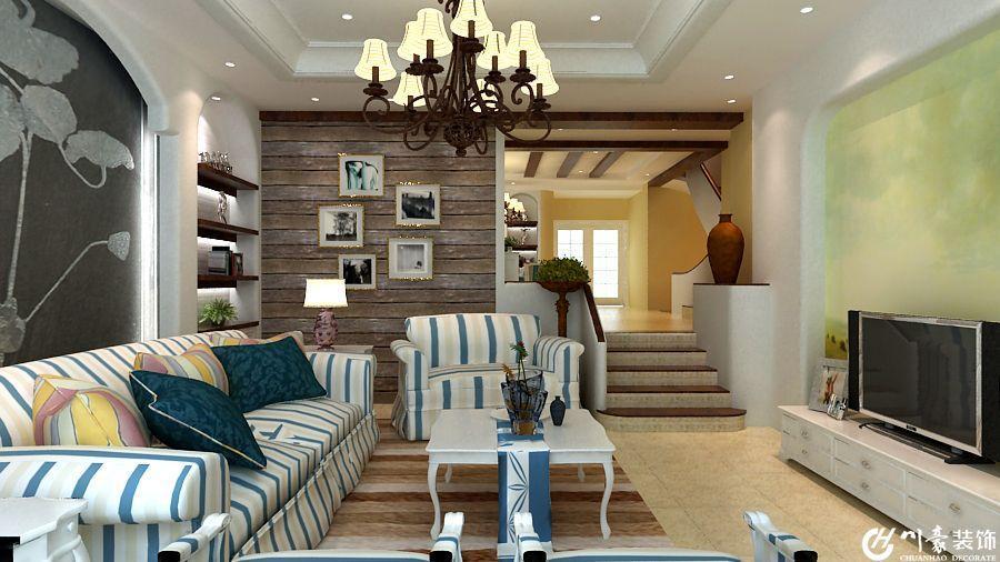 地柜混搭吊灯家具沙发茶几混搭别墅客厅侧面整体装修效果图