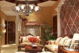 红色吊顶120㎡吊顶三居沙发超有范儿的美式风格客厅效果图大全
