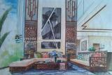 别墅客厅室内设计手绘效果图