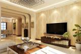 客厅吊顶电视背景墙简约印花电视墙造型效果图