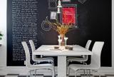 北欧单身公寓餐桌餐椅客厅背景墙黑白色彩下的餐厅装修效果图