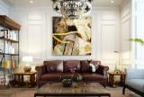 沈陽長白島家裝混搭風客廳沙發背景墻裝修效果圖