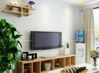 白色混搭電視柜客廳茶幾客廳背景墻100㎡原木色家具裝點電視背景墻效果圖大全