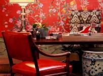 中式客厅背景墙红色挥之不去的那抹中国红效果图