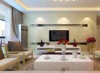 89㎡兩室兩廳簡約風格客廳電視背景墻裝修效果圖簡約風格茶幾圖片