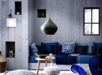 吊頂客廳背景墻藍色布局的客廳裝飾效果圖