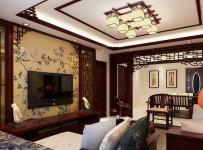中式风格经典中式装修客厅电视背景墙效果图