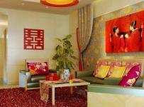 红色地毯中式100㎡婚房布置精心打扮后的婚房客厅效果图