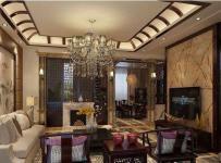 新中式风格三居室客厅吊顶装修效果图欣赏