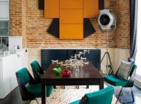 單身公寓餐廳客廳背景墻90㎡不同感覺的橙色背景墻圖片效果圖欣賞