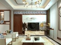 中式風格躍層客廳背景墻裝修效果圖