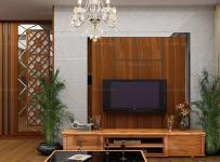 电视背景墙红色100㎡吊顶三居单身公寓客厅充满木元素的中式风格空间效果图欣赏