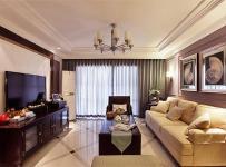 電視背景墻吊燈沙發實木家具美式茶幾客廳深色實木電視柜圖片裝修效果圖