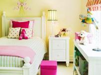 黄色田园韩式小户型儿童房客厅背景墙小公主的唯美卧室效果图