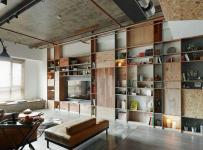 原木色91-120平米三居室loft混搭原木风家居客厅组合柜装修效果图