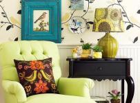 单身公寓沙发客厅背景墙清新妙语花香的休闲空间效果图