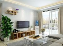白色混搭電視柜客廳茶幾客廳背景墻100㎡原木色家具裝點電視背景墻裝修效果圖