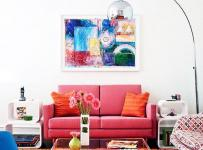 简约风格橙色客厅地毯效果图
