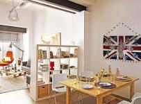 loft风格小户型简洁原木色经济型70平米客厅沙发背景墙沙发海外家居效果图