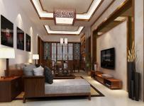 影視墻沙發背景墻電視背景墻電視柜92平中式風格三室兩廳兩衛客廳吊頂裝修效果圖中式風格水曲柳貴妃椅圖片