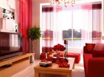 中式110㎡婚房布置红色装饰打造喜庆客厅空间效果图大全