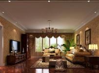 地毯吊灯家具沙发电视柜美式茶几地毯大气时尚的客厅装修效果图