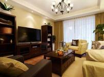 實木家具吊燈沙發美式電視柜三居客廳實木茶幾圖片裝修效果圖