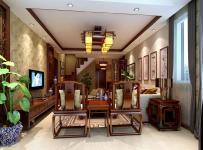 臺燈實木家具吊燈椅凳茶幾電視柜中式風格客廳吊頂裝修效果圖