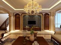 280㎡复式楼欧式古典风格客厅电视背景墙装修效果图欧式古典风格电视柜图片