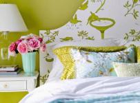 绿色单身公寓客厅背景墙清新生机盎然的活力卧室设计装修效果图