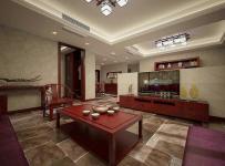 红木家具吸顶灯电视背景墙茶几椅凳新中式风格客厅隔断装修效果图新中式风格电视柜图片