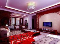 红色61-90平米中式风格二居室客厅效果图