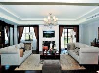 休闲沙发地毯吊灯家具沙发别墅茶几混搭万科晶源样板间客厅侧面整体装修图片效果图大全