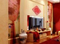 中式客厅婚房布置红色喜庆的电视背景墙装修效果图