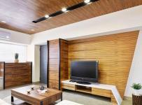 客厅原木色天然清新木质电视背景墙效果图