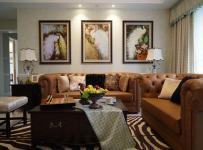 客厅棕色真皮沙发图片效果图大全