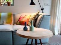 背景墙91-120平米二居室简约风格客厅自然原木色茶几装修实景图效果图
