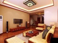 吊頂電視背景墻中式風格四居室客廳電視背景墻裝修效果圖中式風格客廳吊頂圖片