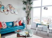 地毯茶几二居单身公寓沙发清新小客厅布局装修效果图