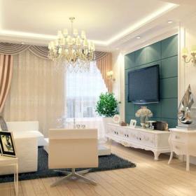 吊燈家居擺件歐式沙發客廳窗簾簡約歐式風格客廳電視背景墻裝修效果圖-簡約歐式風格電視柜圖片