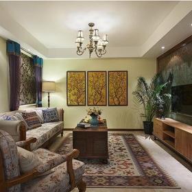 乡村风格客厅电视机背景墙设计装修效果图乡村风格电视柜图片