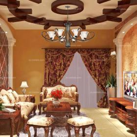 红色吊顶120㎡吊顶三居沙发美式客厅,展现豪华大气生活装修效果图